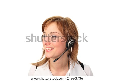 Business woman on headset talking