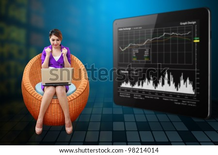 Business woman on the chair and present the stock graph report - stock photo