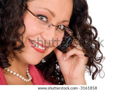 Business woman on the phone - close up over a white background - focus is on the eye near mobile phone