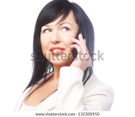 Business woman on the phone, isolated over a white background