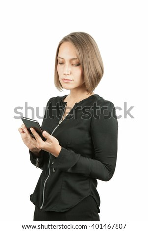 Business woman on the phone isolated over a white background.