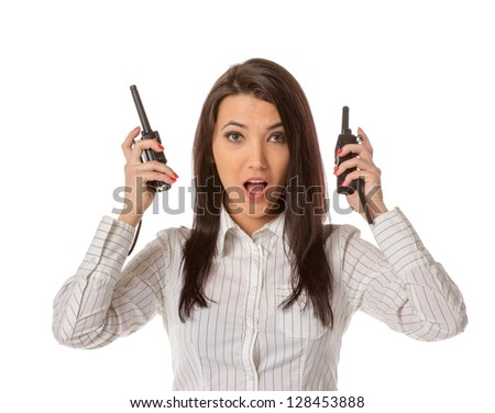 Business woman on the walkie-talkie - stock photo
