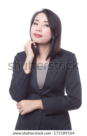 Business woman on white background - stock photo