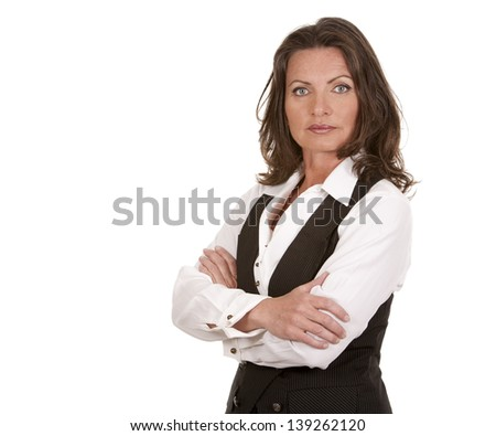 business woman on white isolated background