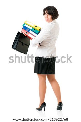 Business woman or teacher in suit with folders, isolated white background