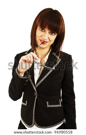 Business woman or teacher with eyeglasses.  Isolated on white background. - stock photo