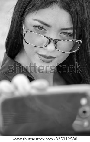business woman photographing selfie - stock photo