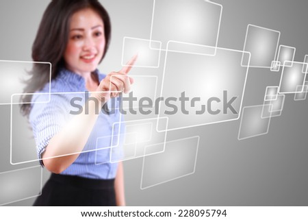 business woman playing technology modern touch screen