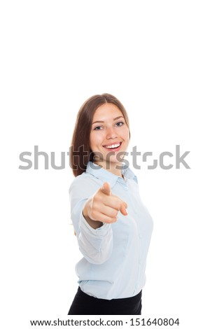 Business woman point finger at you looking at camera. businesswoman excited smile isolated on white background - stock photo