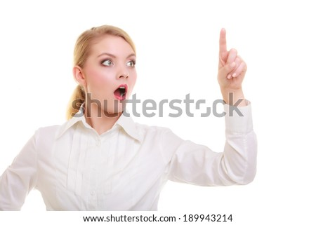 Business woman point finger empty copy space, businesswoman showing side, concept advertisement product push touch screen, pressing digital virtual button. Surprised face expression isolated