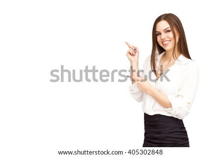 Business woman point up - stock photo
