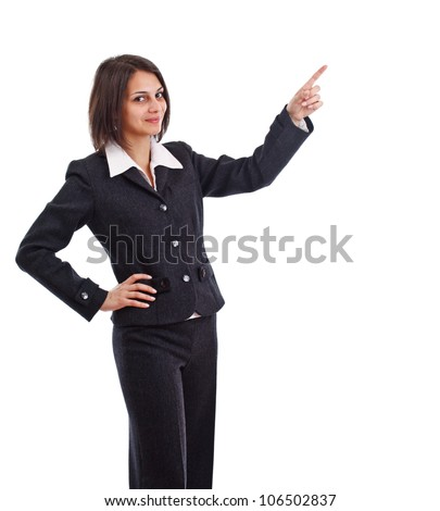 Business woman pointing at something, isolated on white background