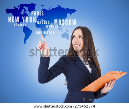 business woman pointing destinations on the map - stock photo
