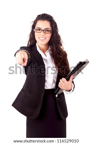 Business woman, pointing forward - isolated over white - stock photo