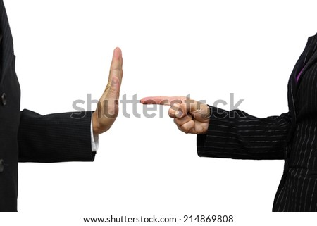 business woman pointing to coworker. He refuses task - stock photo