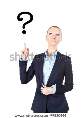 Business woman pointing up on sign question mark - stock photo