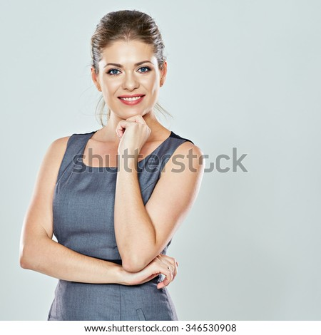 business woman portrait against isolated studio gray background. business people. female office worker. - stock photo
