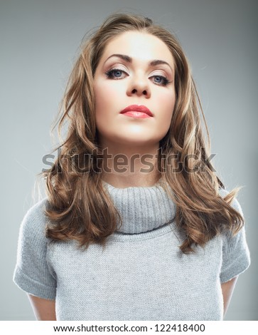 Business woman portrait isolated over gray. - stock photo
