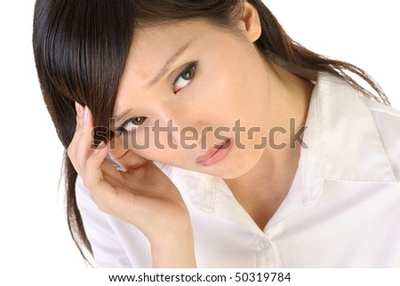 Business woman portrait of Asian with worried expression on white background. - stock photo