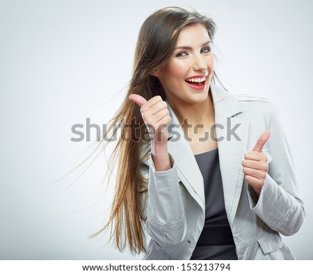Business woman portrait. Success business. Thumb up.