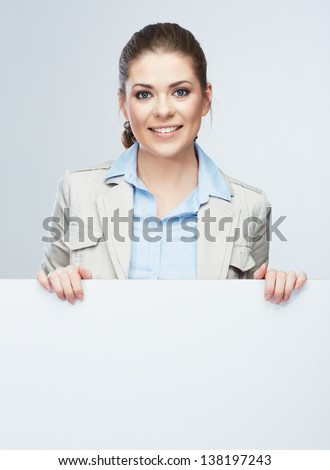 Business woman portrait, white banner background. Female young model.