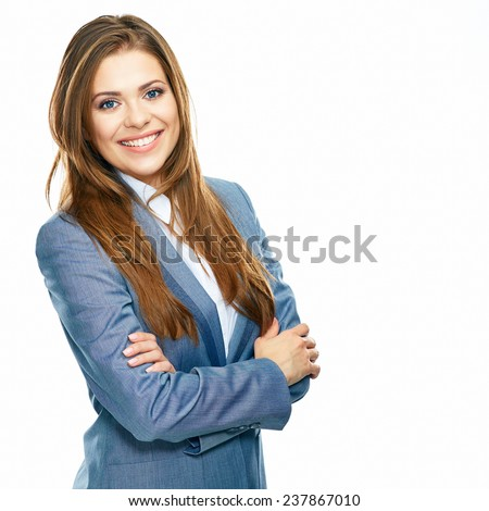 Business woman portrait with crossed arms isolated on white background. Big toothy smile. Young female model. - stock photo