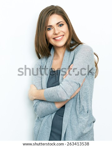 Business woman portrait with crossed arms isolated on white background. Young smiling woman. office worker. - stock photo