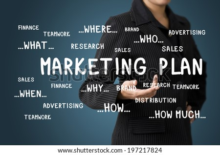 Business Woman Present Business Diagram Marketing plan Concept - stock photo
