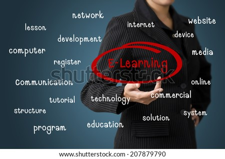 Business woman present E-learning concept - stock photo