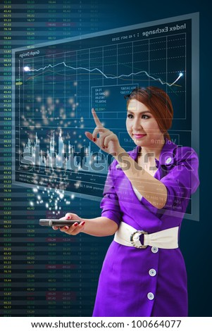 Business woman present the Stock graph report