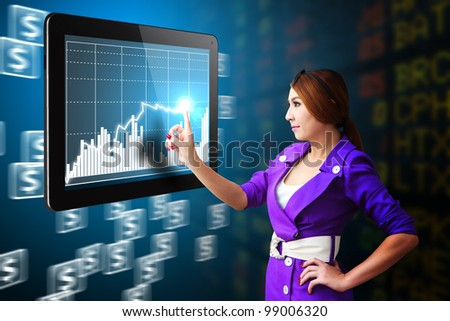 Business woman present the Stock graph report - stock photo