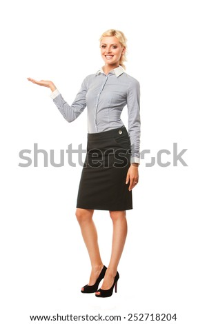 Business woman presenting a copyspace. Isolated on white background. - stock photo