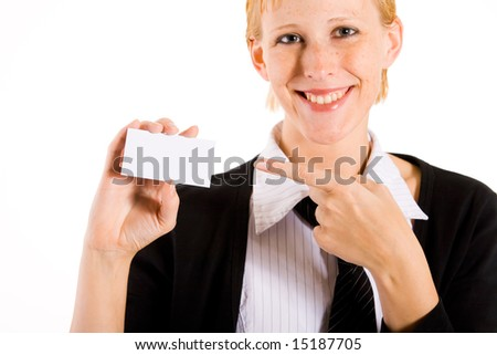 Business woman presenting her white card. Focus in on the hand with the empty white card.
