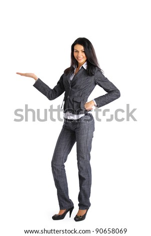 Business woman presenting something imaginary over white - stock photo
