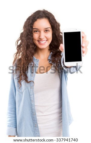 Business woman presenting your product on a last generation smartphone - stock photo