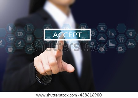 business woman pressing, accept concept button