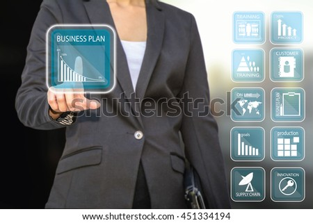business woman pressing , business concept button