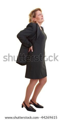 Business woman pressing her hands against her back - stock photo