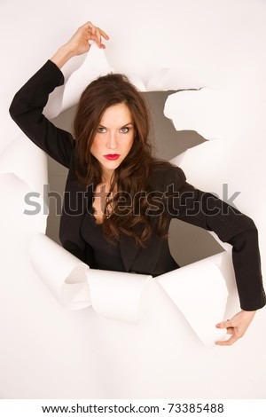 Business Woman Professional Breaking Through barrier torn white background - stock photo