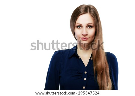 business woman professional portrait. Young female businesswoman close up portrait isolated on white background. Mixed race Asian Caucasian female model in her twenties. - stock photo