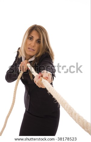 Business woman pulling a rope isolate on white background - stock photo