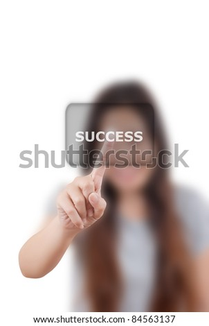 Business woman pushing success word. - stock photo