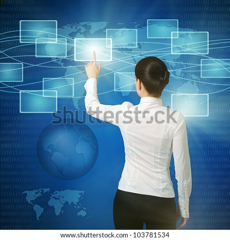 business woman pushing virtual button in web interface with her finger over blue - stock photo