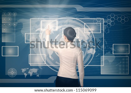 business woman pushing virtual button in web interface with her finger over blue background
