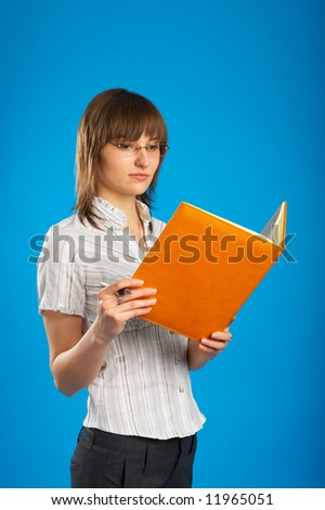 business woman reading - stock photo