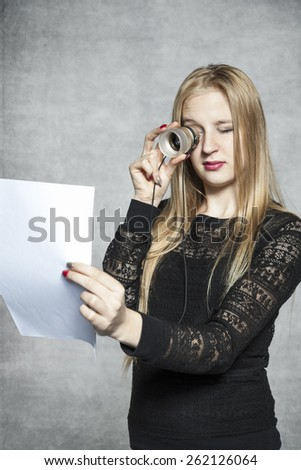 business woman reading her contract - stock photo