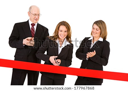 Business: Woman Ready To Cut Red Ribbon - stock photo