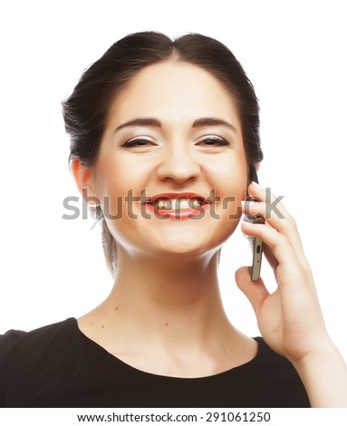 business woman receiving only good news on mobile phone - stock photo