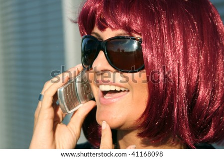 Business Woman red hair -  Call and Phone
