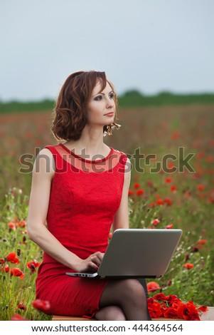 Business Woman Relaxing Office Desk Green Field - stock photo